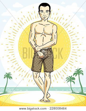 Handsome Brunet Man Standing On Tropical Beach And Wearing Beachwear Shorts. Vector Human Illustrati