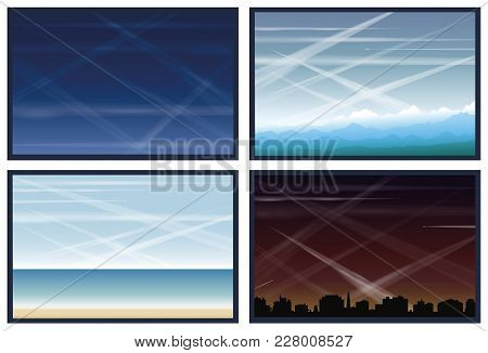 Air Pollution Caused By Contrails Of Flying Planes. Blue Sky, Mountain Landscape, Ocean Shore And Ci