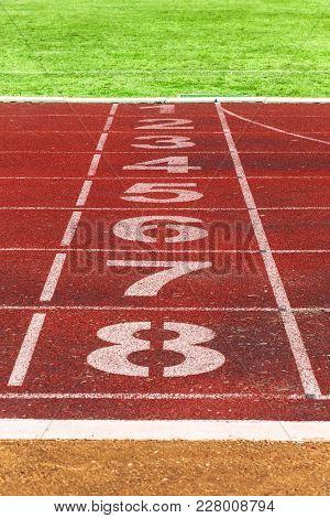 Running Track Lines With Green Grass. Running Track. Stadium Track.