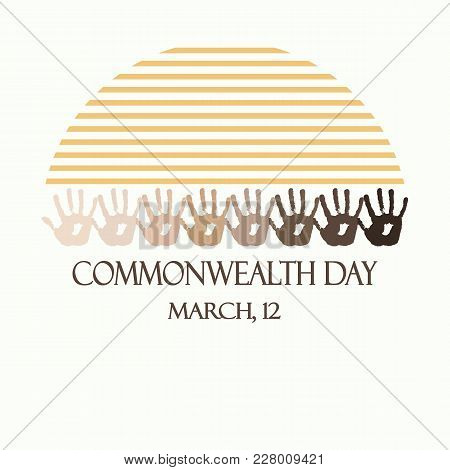 Creative Vector Abstract Round Logo For Commonwealth Day. Flat Vector Stock Illustration