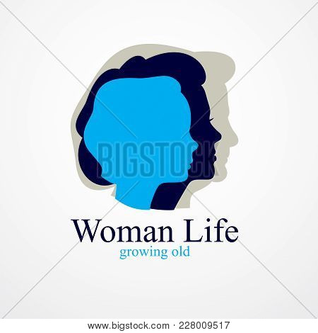 Woman Life Age Years Concept, The Time Of Life, Periods And Cycle Of Life, Growing Old, Maturation A