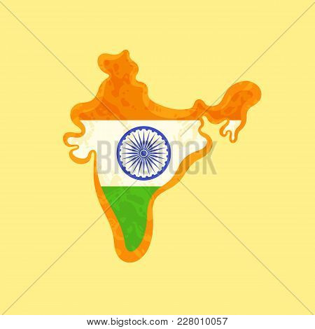 Map Of India Colored With Indian Flag And Marked With Golden Line In Grunge Vintage Style.