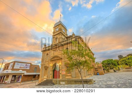 Albany, Australia - Dec 28, 2017: Iconic Albany Town Hall With Its Four-faced Clock Tower Opened In