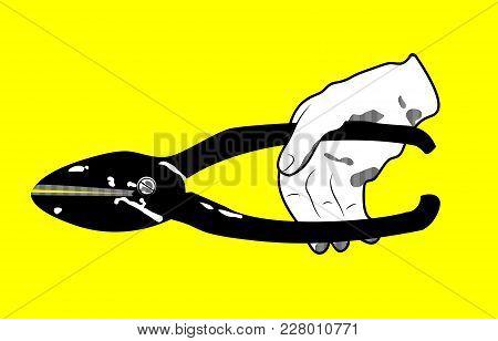 Vintage Logo With Scissors, Hand With Scissors, Vintage Instruments