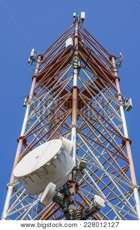 Tower With Communication Antennas With Receptors And Emitters.