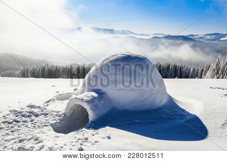 Marvelous Huge White Snowy Hut, Igloo  The House Of Isolated Tourist Is Standing On High Mountain Fa