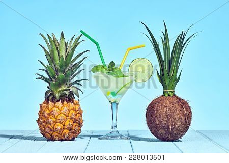 Tropical Pineapple And Coconut. Bright Summer Color. Cocktail On Beach. Hot Summer Vibes. Sunny Back