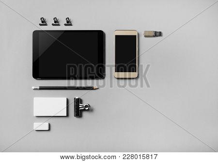 Photo Of Blank Stationery And Gadgets Set On Grey Paper Background. Brand Identity Mockup. Flat Lay.