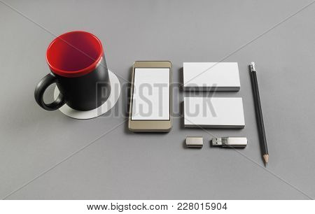 Brand Identity Template. Photo Of Blank Stationery And Gadgets On Grey Paper Background.
