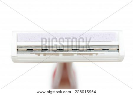 Disposable Shaving Razor Blade. Isolated On White Background. Personal Hygiene Accessory, Sharp Blad