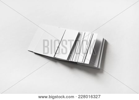 Many Blank Business Cards On White Paper Background. Template For Branding Identity.