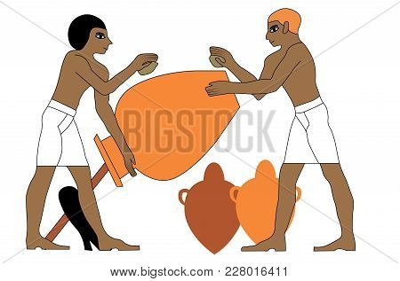 Ancient Egypt Ceramists At Work Illustration, Man At Work, Group Of Workers, Egypt Murals, Ancient E
