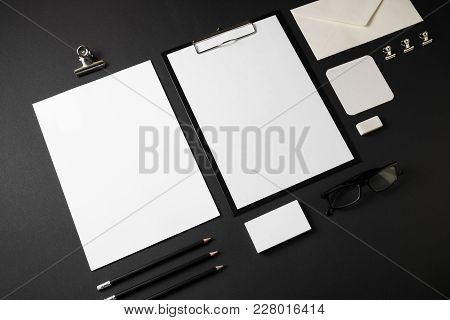 Blank Stationery Set On Black Paper Background. Template For Branding Identity.