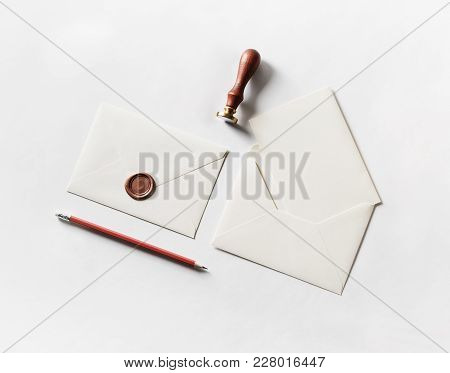 Envelope, Seal, Stamp And Pencil On Paper Background. Responsive Design Mockup. Blank Stationery. To