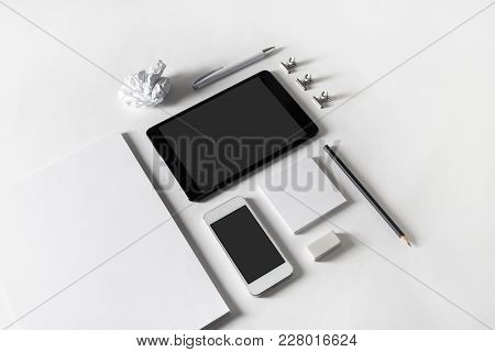 Template For Id. Photo Of Blank Stationery And Gadgets On Paper Background. Objects For Placing Your