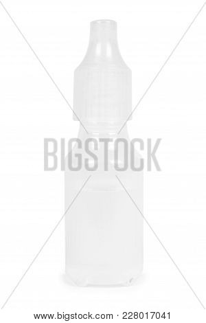 Medical Eye Dropper Bottle, Container With Liquid. Isolated On White Background. Medicine Solution.