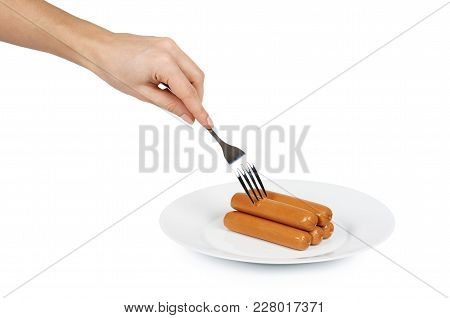 Meat Sausage For Hot Dog Or Barbecue On Plate In Hand. Isolated On White Background. Fast Food Meal.