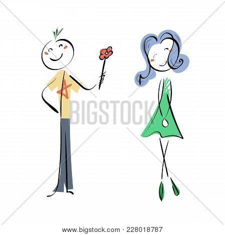 Doodle Stickman Illustration Concept. Neformal Love, Punk-boy And Cyber-girl. Vector Image.