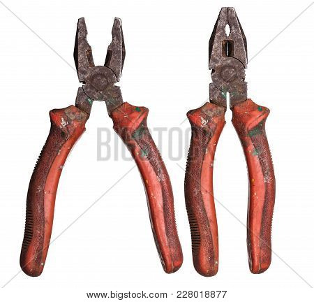 Pliers Used Isolated On White Background For Your Design.