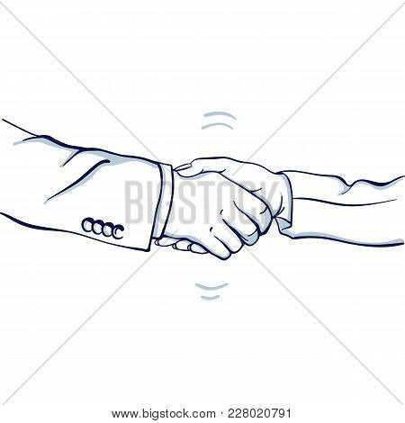 Handshake Of Businessman And Businesswoman. Hand Drawn Doodle Cartoon Vector Illustration.
