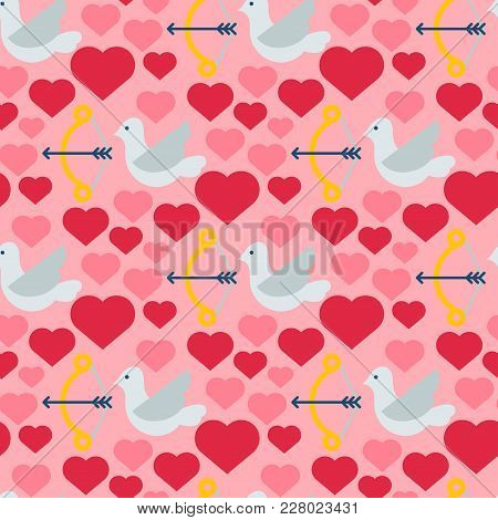 Red Heart Dove Vector Seamless Pattern Background Birds Color Card Beautiful Celebrate Bright Emotic