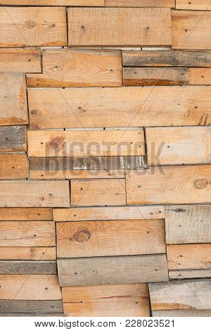 The Wall Is Faced With Old Boards Of Different Sizes, Design, Rustic Style