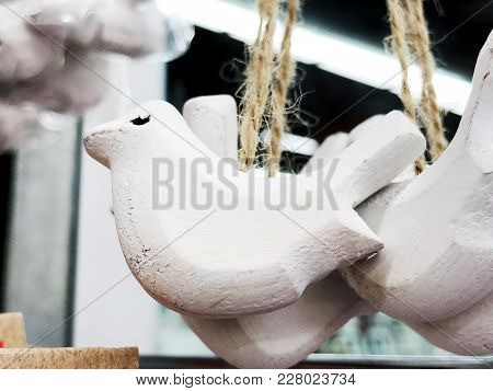 Decorative Wooden Birds Made By Own Hands. Pendant For Decoration