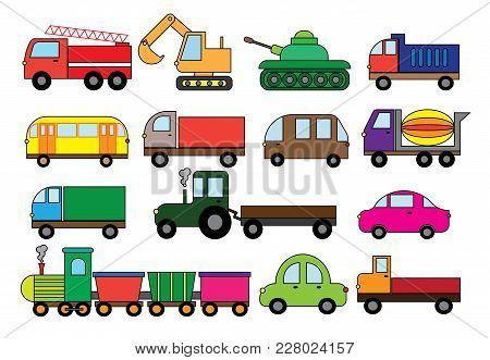 Transport Cartoon, Set. Surface Modes Of Transport. Car, Bus, Train, Fire Truck, Concrete Mixer, Dum