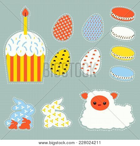 Stylized Easter Set With Easter Eggs, Bunnys, Cake And Lamb Stock Vector.