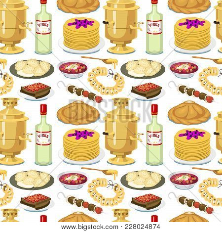 Traditional Russian Cuisine Seamless Pattern Background Culture Dish Course Food Welcome To Russia G