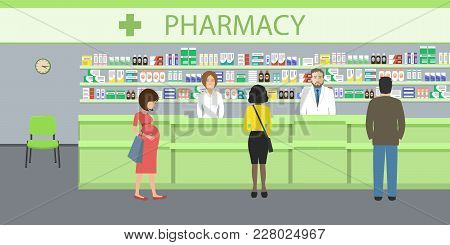 People In The Pharmacy. Pharmacists Man And Woman Stands Near The Shelves With Medicines. In The Gre