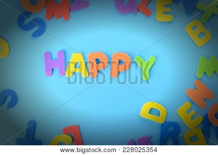 Beautifully Laid Out Inscription Happy Of Multi-colored Letters. Blue Background With Vignette.