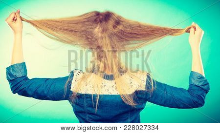 Hairstyle And Hairdo. Haircare Concept. Back View Of Blonde Woman Playing With Straight Long Hair. H