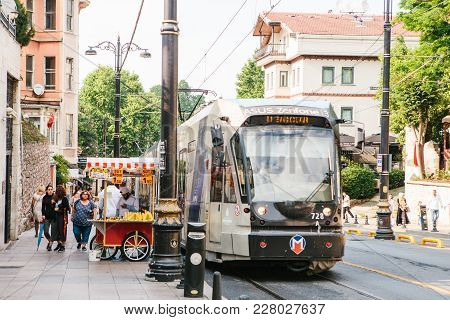 Istanbul, June 15, 2017: Editorial Image Of Modern Turkish Urban Overground Metro Train Or Tram In T
