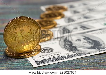 Bitcoin Golden Coin New Virtual Money And Dollar Background