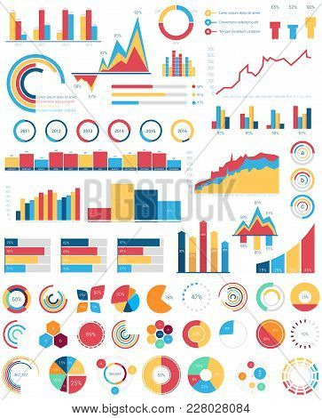 Set For Infographics Various Design Elements With Bar Or Circle, Area Filling Or Pie, Linear Charts