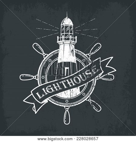 Lighthouse Building With Ships Or Boats Wheel For Helmsman Or Sailor. Sketch Logotype Of Beacon With