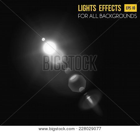 Light Effect Of Sunbeam Background Through Lens. Sunlight Ray Or Sparkle Abstract Background. May Be