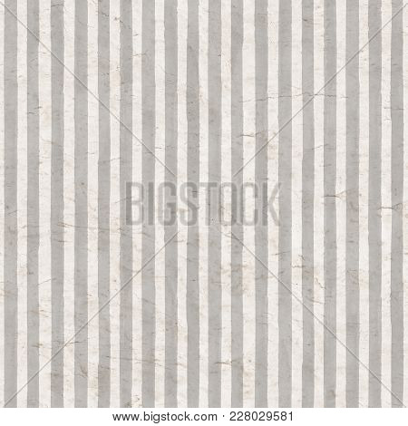 Vintage Gray Stripe Background. Old Aged Paper With Watercolor Hand Drawn Stripe Pattern. Vertical W