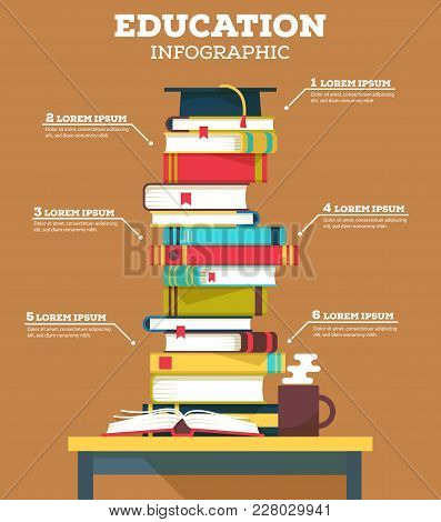 Education Infographic With Pile Of School Books. May Be Used For Literature Or Education Infographic