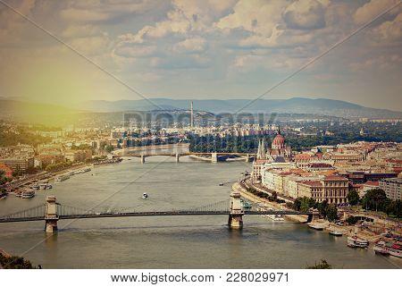 Retro Style Photo Of Budapest Skyline. Hungary