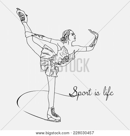 Vector Scetch Figure Skater With Format Eps10