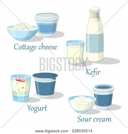 Kefir Bottle And Yogurt With Fruits, Bowl Of Farmer Cottage Cheese And Sour Cream. Glass Of Milk Whi