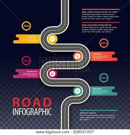 Road Top View Infographics With Dotted Line And Percents In Round Graphs, Traffic Map Of Asphalt Str