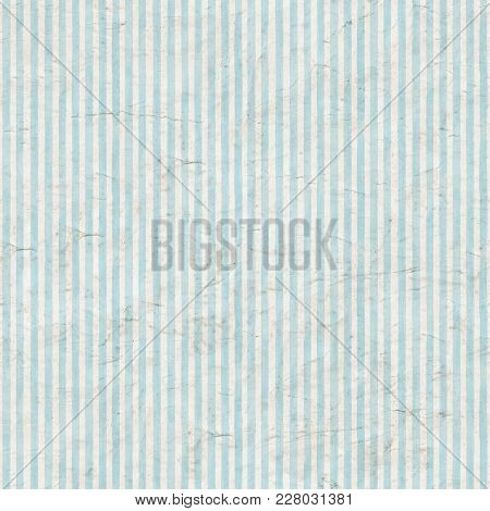 Vintage Teal Blue Stripe Background. Old Aged Paper With Watercolor Hand Drawn Stripe Pattern. Verti