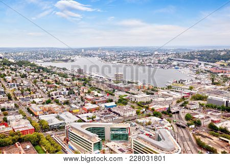 Seattle Cityscape From Aerial View Showing Suburban Neighborhood Surrounding Lake Union With Residen