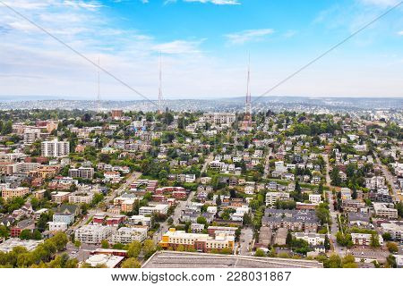 Seattle Cityscape From Aerial View Showing Suburban Neighborhood With Residential Houses, Strip Mall