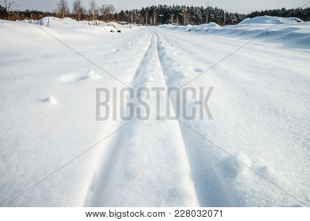 Traces On The Snow. Perspective View.