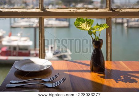 View Through The Window Of The Restaurant On The Golden Gate Bridge In San Francisco. Restaurant On