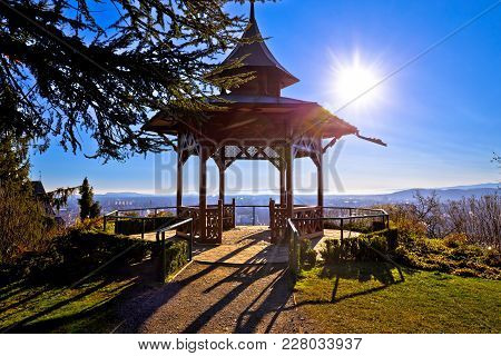 Gazebo In Schlossberg Hill Park With Spectacular Graz View, Sun Haze In Styria Region Of Austria